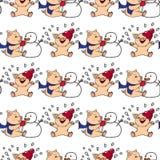 hand-drog illustrationer invitation new year Vinterkort med svin barn som leker snow Spädgrisar och snögubbe seamless modell Arkivfoto