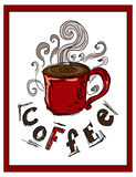 hand-drog illustrationer Vykort per koppen kaffe Royaltyfri Bild