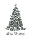 Hand drog julgran och gåvor royaltyfri illustrationer
