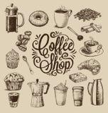 Hand drog kaffeillustrationer Arkivfoto