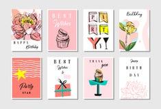 Hand drog mallar för uppsättning för samling för kort för hälsningar för lycklig födelsedag för collage för vektor abstrakt begre royaltyfri illustrationer