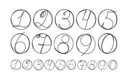 Hand drog nummersymboler som isoleras på vit bakgrund vektor Stock Illustrationer