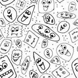 Hand drog roliga monster stock illustrationer