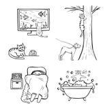 Hand-drog roliga symboler av kattliv arkivfoto