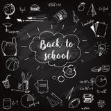 Hand drog skolaklotter på svart tavla Dra tillbaka till skolavektorikkustrationen stock illustrationer