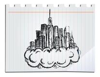 Hand drog skyskrapor vektor illustrationer