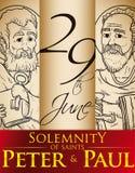 Hand drog stående för högtidlighet av helgon Peter och Paul, vektorillustration stock illustrationer