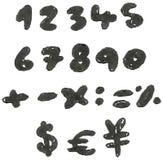 Hand drog svärtade nummer vektor illustrationer