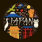 Hand drog symboler av Japan Japansk kultur och arkitektur royaltyfri illustrationer