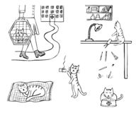 Hand-drog symboler av liv för inhemsk katt arkivbild
