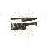 Hand drog symboler för köttköttyxa och kniv Tappningstekhussymbol Boktryckeffekt med sunbursts för designeps för 10 bakgrund vekt royaltyfri illustrationer