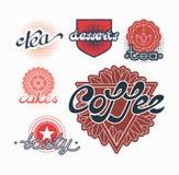 Hand drog textetiketter för te, kaffe och sötsaker Royaltyfri Foto