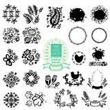 Hand-drog texturer, ramar, borstar, provkartor stock illustrationer