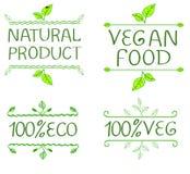 Hand-drog typografiska beståndsdelar för design Naturprodukter och strikt vegetarianmatetiketter Royaltyfri Foto