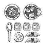 Hand drog vektorillustrationer - asiatisk kokkonst Ramen och några stock illustrationer
