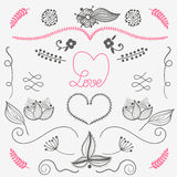 Hand drow design elements love, floral, heart - vector set Royalty Free Stock Images