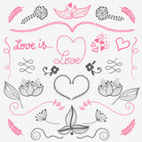 Hand drow design elements love, floral, heart - vector set Stock Images