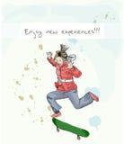 Hand drowing girl enjoying sport. Vector illustration eps10 Stock Photography