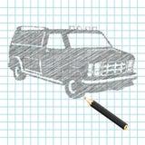 Hand-drown car sketch Royalty Free Stock Photos