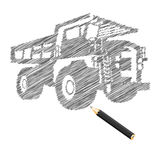 Hand-drown cargo truck sketch Stock Images