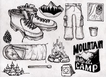 Hand drown kit, set of hiking, camping equipment. Black and white, scanned illustration Royalty Free Stock Image