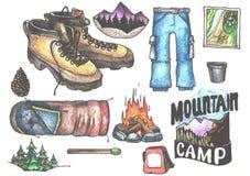 Hand drown kit, set of hiking, camping equipment Stock Photos