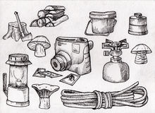 Hand drown kit, set of hiking, camping equipment, black and white, scanned illustration Stock Photos