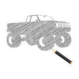 Hand-drown monster truck sketch Stock Images