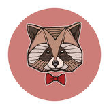 Hand drown portrait of raccoon with bow-tie Royalty Free Stock Photos
