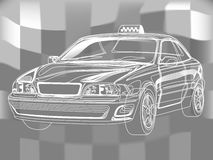 Hand-drown taxi car sketch, scheme illustration. Simple line Taxi. Vector illustration on a background. scheme Royalty Free Illustration
