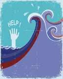Hand of drowning in blue sea waves. Stock Images