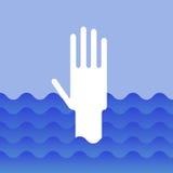 Hand of drowning man Stock Photos