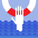 Hand of drowning man. With lifebuoy Royalty Free Stock Photography