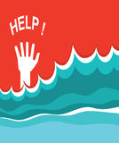 Hand of drowning poster. Royalty Free Stock Photography