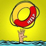 Hand Drowning Rescue Circle Help. Comic cartoon pop art retro vector illustration drawing vector illustration