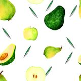 Hand drowning watercolor avocados pattern vector illustration