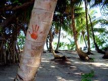 Hand-drucken Sie auf einer Palme bei den Maldives Lizenzfreie Stockfotografie