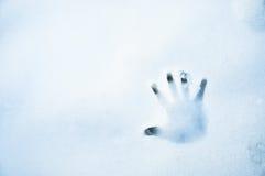 Hand-druk in de sneeuw Royalty-vrije Stock Foto