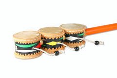 Hand Drums. Isolated colored hand drums on a white background Stock Images