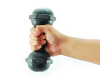 Hand Dumbbell. Power for exercise stock photography