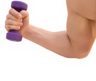Hand with dumbbell. Close up, isolated over white Royalty Free Stock Photos