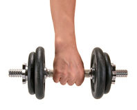 Hand with dumbbells. Isolated on a white background Stock Image