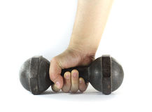 Hand with dumbell Royalty Free Stock Image