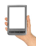 Hand with E-book reader Stock Photo