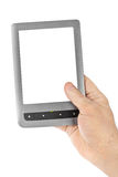 Hand with E-book reader Stock Image