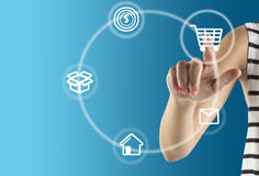 Hand With E-Commerce Icon Royalty Free Stock Images