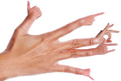 Hand with each finger sign Royalty Free Stock Images