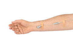 Hand with earphones like medical IV infusion. Isolated on white background Royalty Free Stock Photos