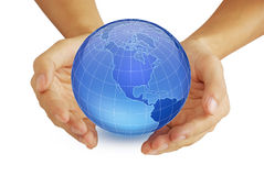 Hand and the Earth. Hands and the Earth, isolated on a white background Stock Photos