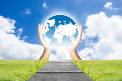 Hand On Earth Stock Images